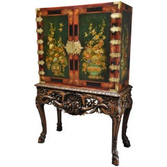 Superb Quality English Early 20th Century George II Lacquered Cabinet on Stand