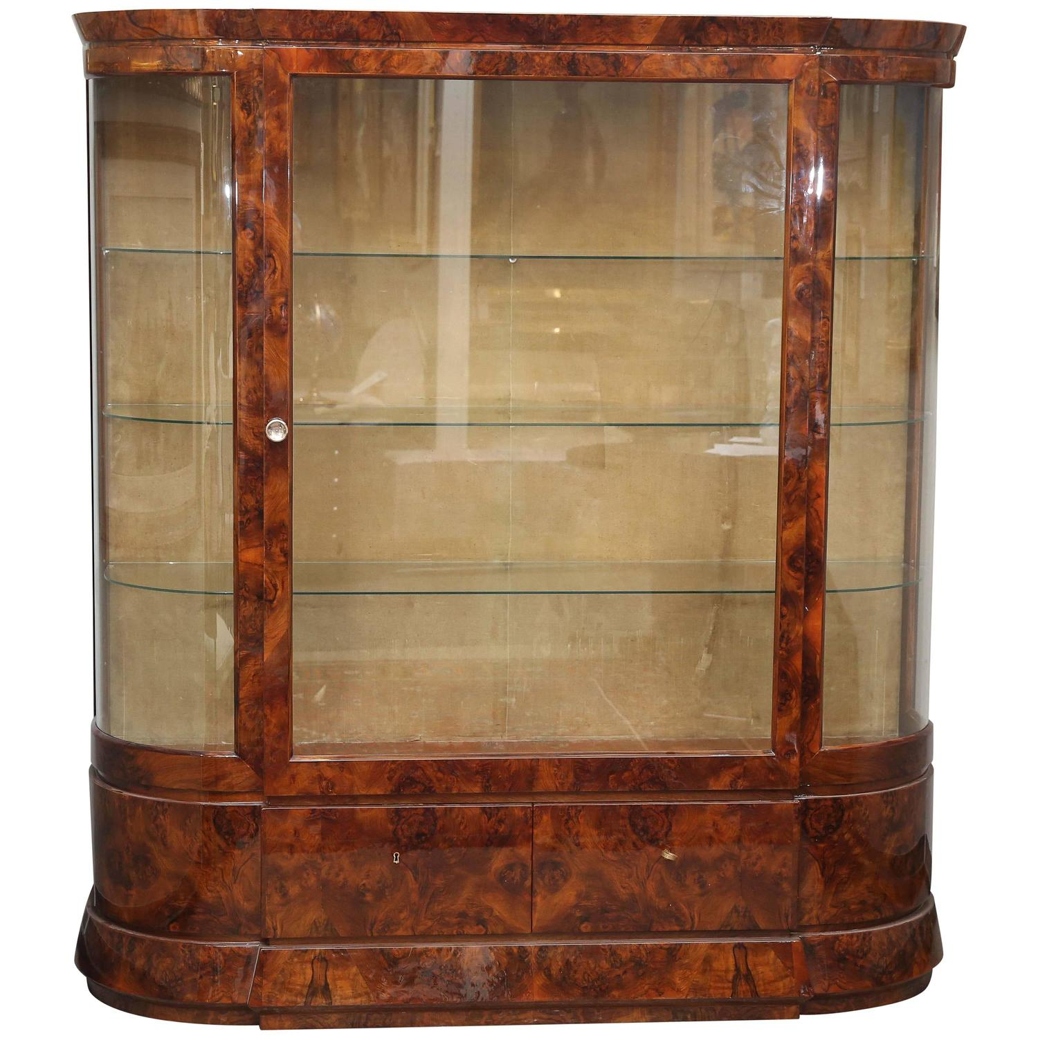 art deco glass vitrine for sale at 1stdibs. Black Bedroom Furniture Sets. Home Design Ideas