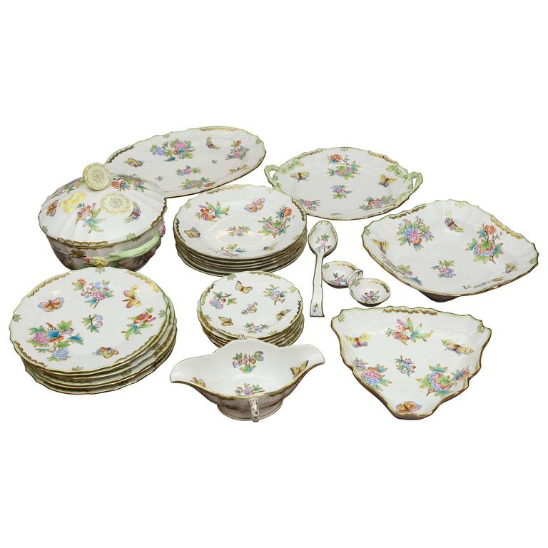 Hungarian 26 Pieces Queen Victoria Herend Dinnerware Set For Sale  sc 1 st  1stDibs & Hungarian 26 Pieces Queen Victoria Herend Dinnerware Set For Sale at ...