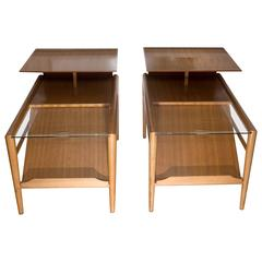 Pair of Step End Wood Tables with Sliding Glass Feature by Saltman
