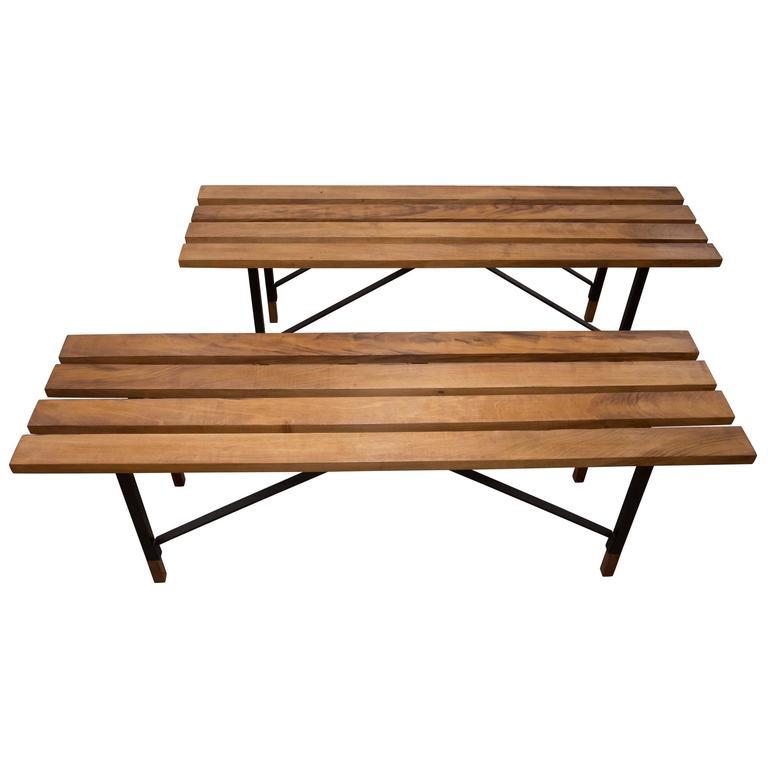 Wood Slat Bench With Black Metal Cross Bar Base And Wood
