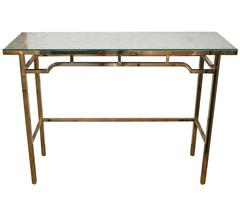 Rectangular Brass Console with Inlaid Mother of Pearl, Glass Top by Billy Haines