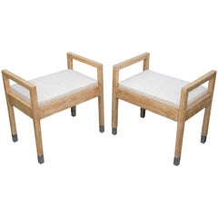 Pair of Upholstered Wood Benches with Chrome Tip Legs
