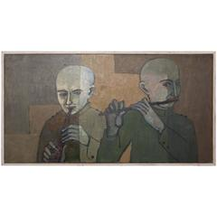 Painting of Two Playing Musicians, Signed