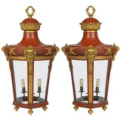 19th Century French Pair of Hall Lanterns in Red with Gold Highlights