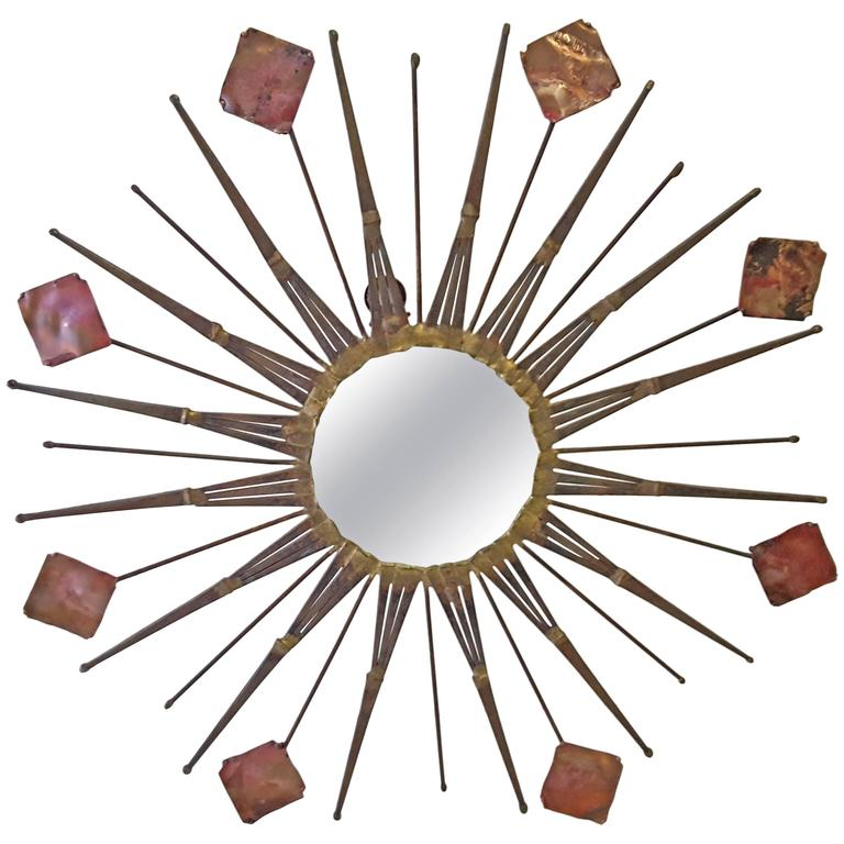 Copper, Iron and Steel Wall Mirror Sculpture and in the Manner of Curtis Jere