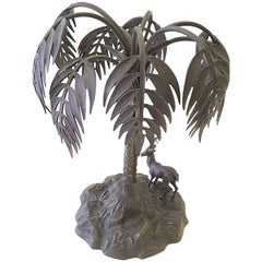 Bronzed Sculpture of a Palm Tree and Gazelle on a Rock Base