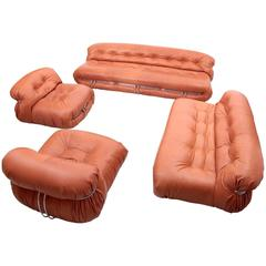 New Upholstered Huge Afra & Tobia Scarpa Soriana Set in Tan Leather by Cassina