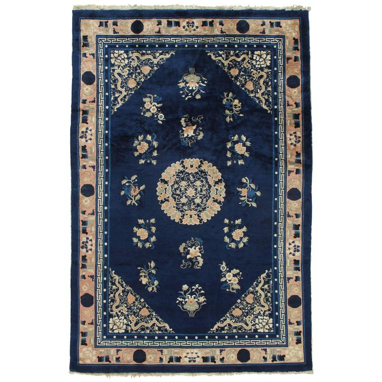 Antique Peking Chinese Rug Handmade Oriental Rug Blue