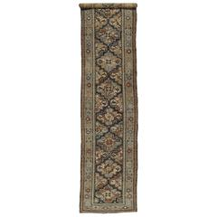 Antique Persian Malayer Runner, Handmade Oriental Rugs, Navy, Light Blue, Brown