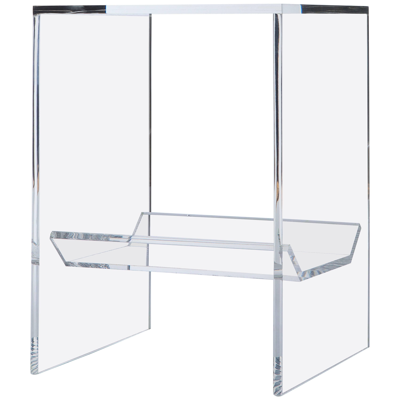 Transparent Acrylic Side Table with Multi-Purpose Sub-Seat Terrarium