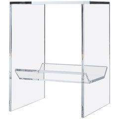 Transparent Acrylic Side-Table with Multi-Purpose Sub-Seat Terrarium