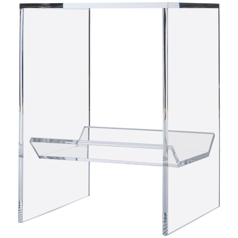 Transparent Acrylic Side-Table with Multi-Purpose Sub-Seat Terrarium For Sale