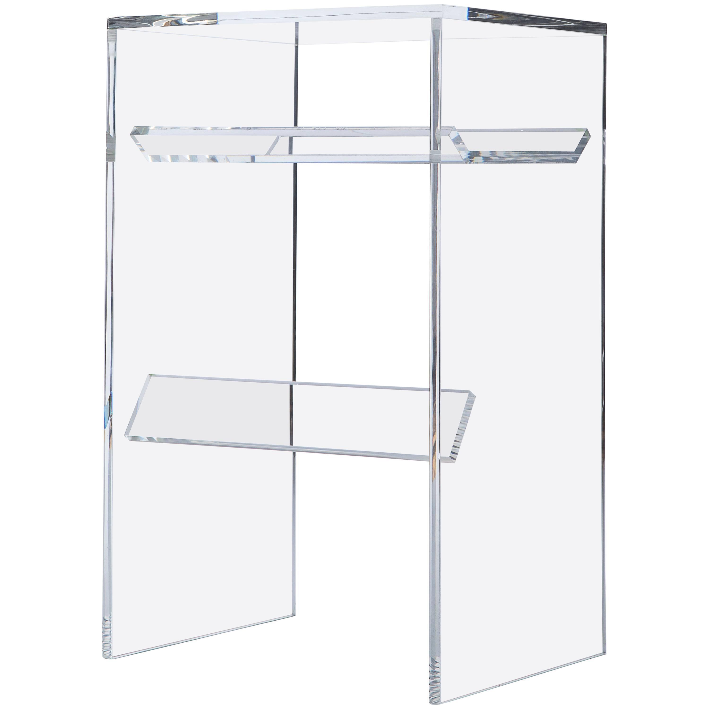 Clear Acrylic 'Stooble' (Stool x End Table), Multipurpose Sub-Surface Terrarium