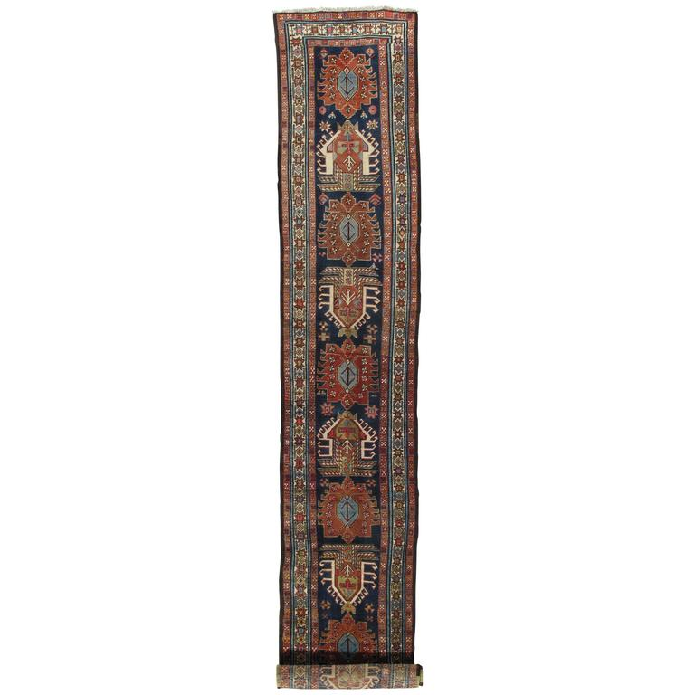Antique Heriz Northwest Persian Runner, Handmade, Navy, Light Blue, Saffron Rust