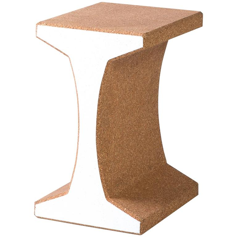 'I-Beam' Side Table or Stool Made from Cork