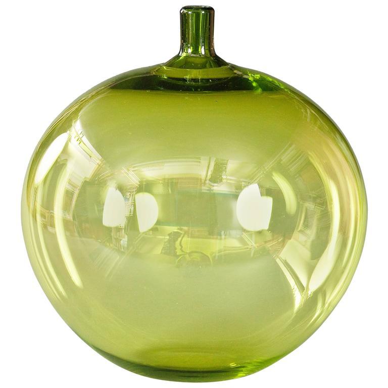 Ingeborg Lundin for Orrefors, Swedish Glass Apple Vase