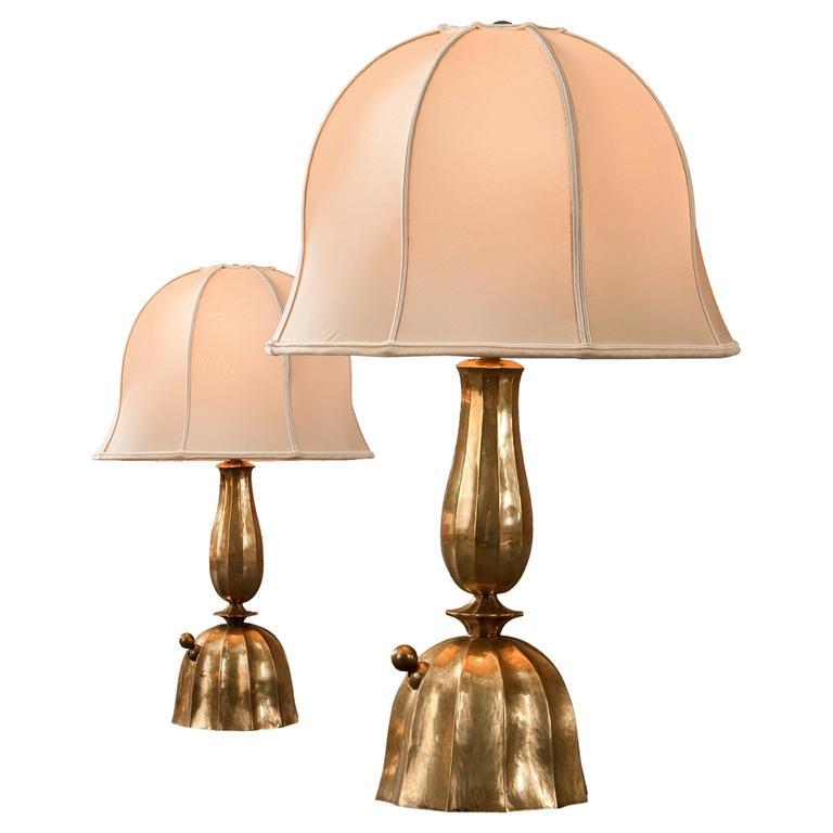 Josef Hoffmann, Wiener Werkestätte, Vienna Secession, Pair Brass Table Lamps 1