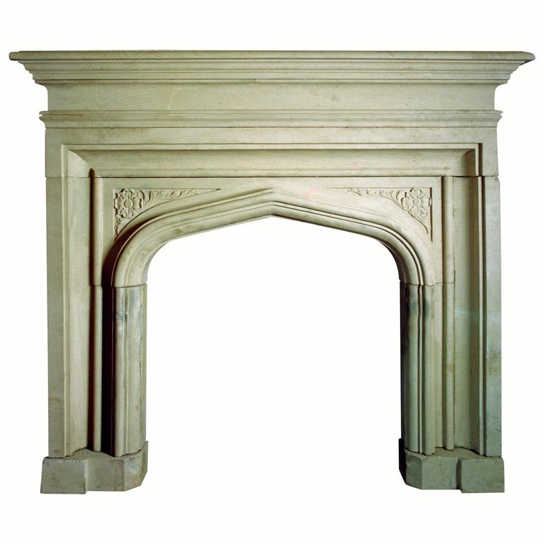 19th Century Reproduction Gothic Mantel Carved in Portland