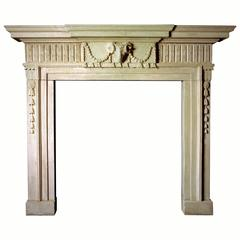 18th Century Reproduction Mantel with Ram's Mask Carved in Portland Limestone