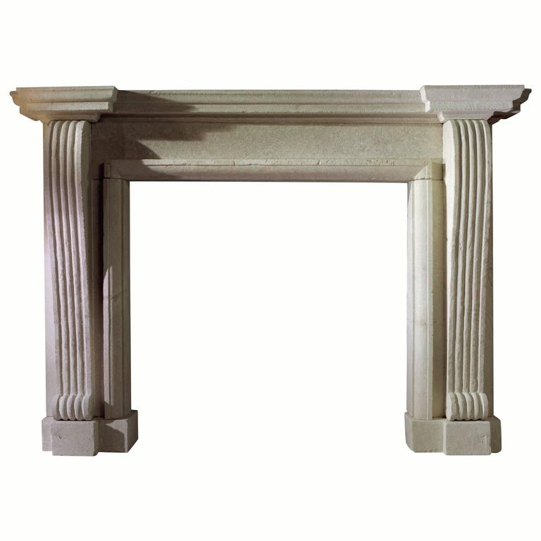 19th Century Reproduction Palladian Mantel in Limestone