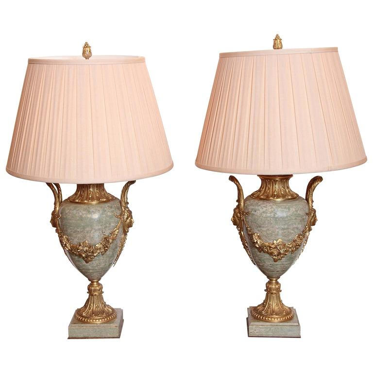 Pair of Beautiful Large 19th Century French Gilt Bronze and Marble Urn Lamps 1