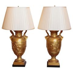 Pair of Large and Impressive Signed Barbedienne Gilt Bronze Urn Lamps