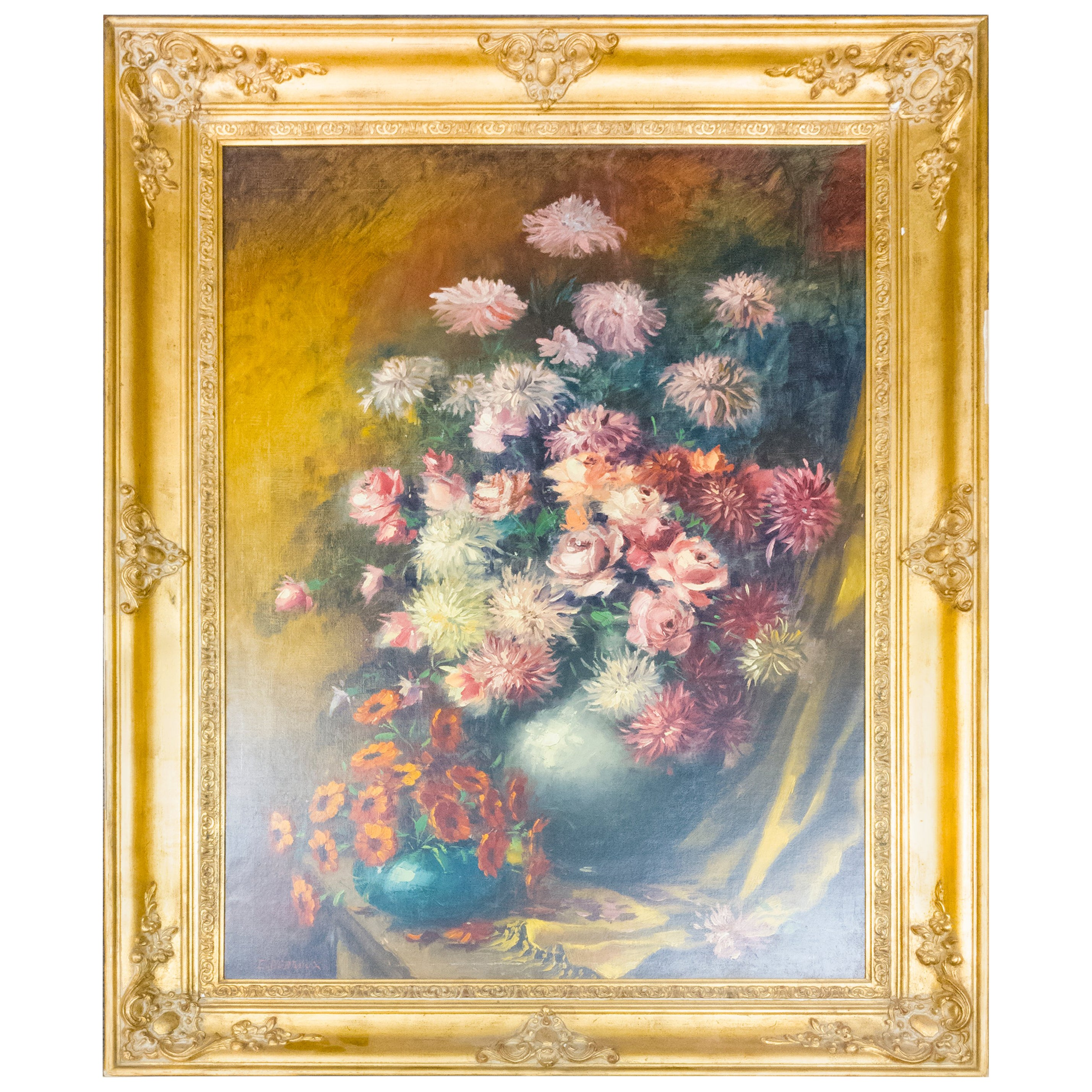 Still Life with Flowers Oil on Canvas Painting Artist E. Debroux
