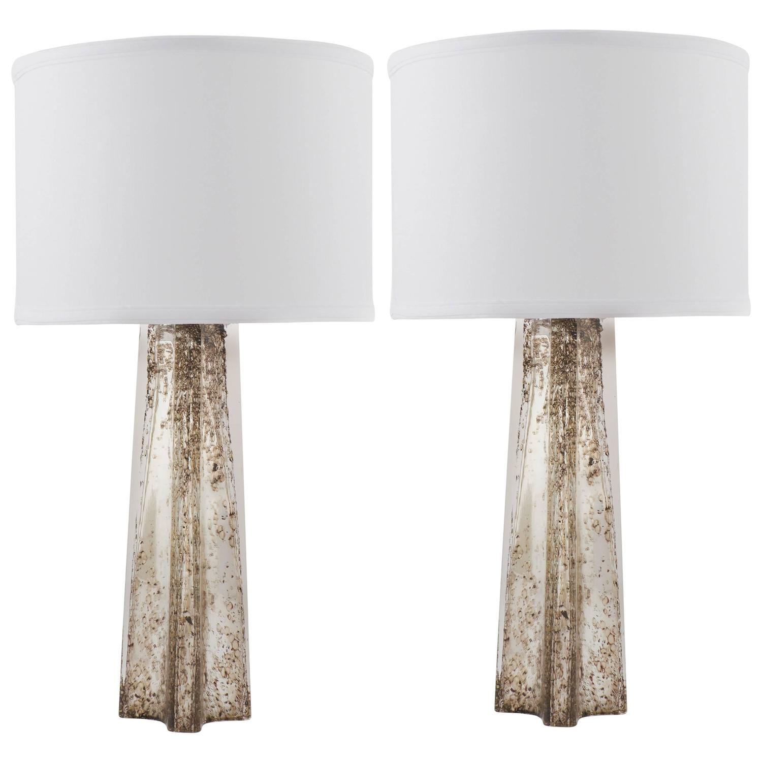 Pair of murano pulegoso mercury glass table lamps for sale at 1stdibs mozeypictures Image collections