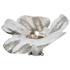 Hand-Hammered Silver Plate Sculptural Lotus Bowl/Vessel/Vase