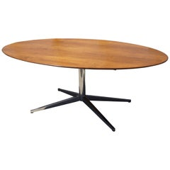 Large Walnut and Chrome Oval Table by Florence Knoll for Knoll