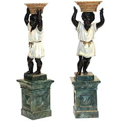 Venetian Pair of Terracotta Blackamoor Figural Jardinieres, Late 19th Century