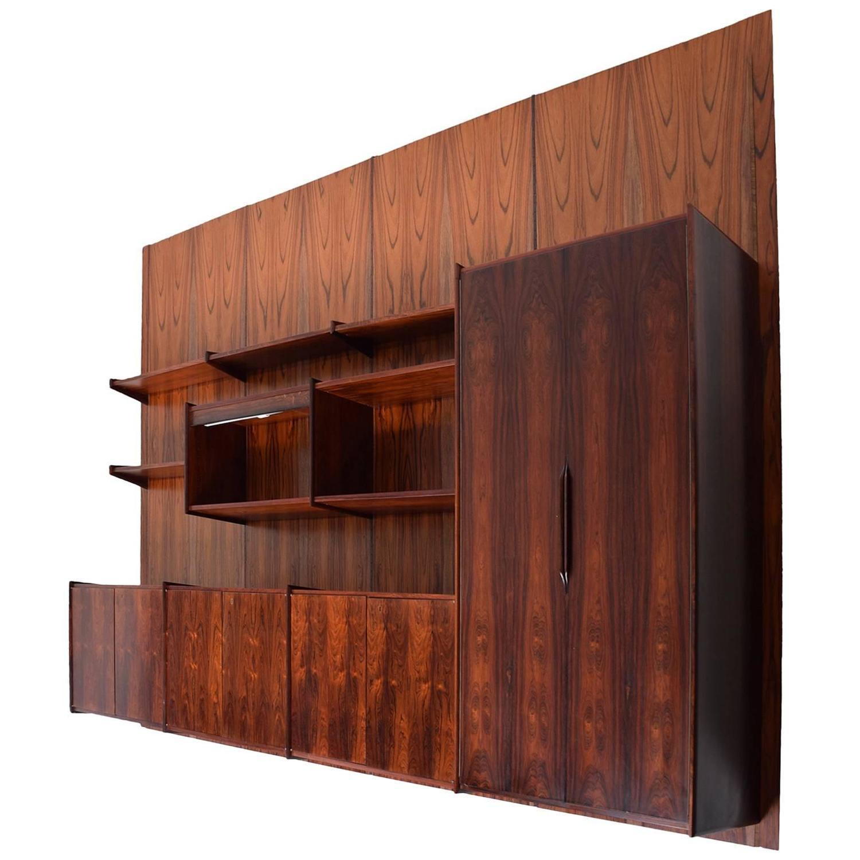 danish mid century modern rosewood wall unit four panels. Black Bedroom Furniture Sets. Home Design Ideas