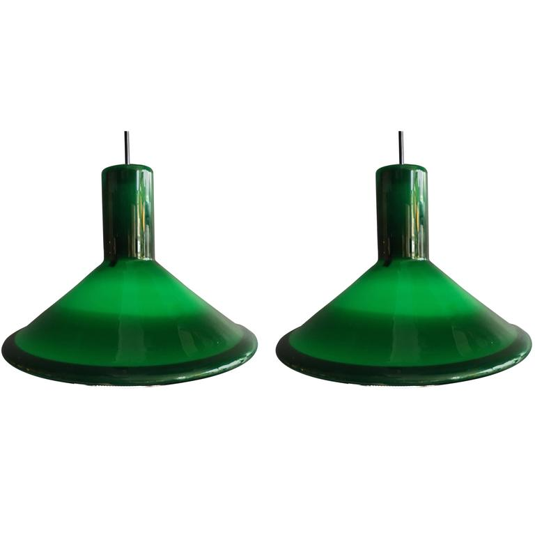 Pair of Danish mid-century pendant lights by Michael Bang, Holmegaard Glass P&T.