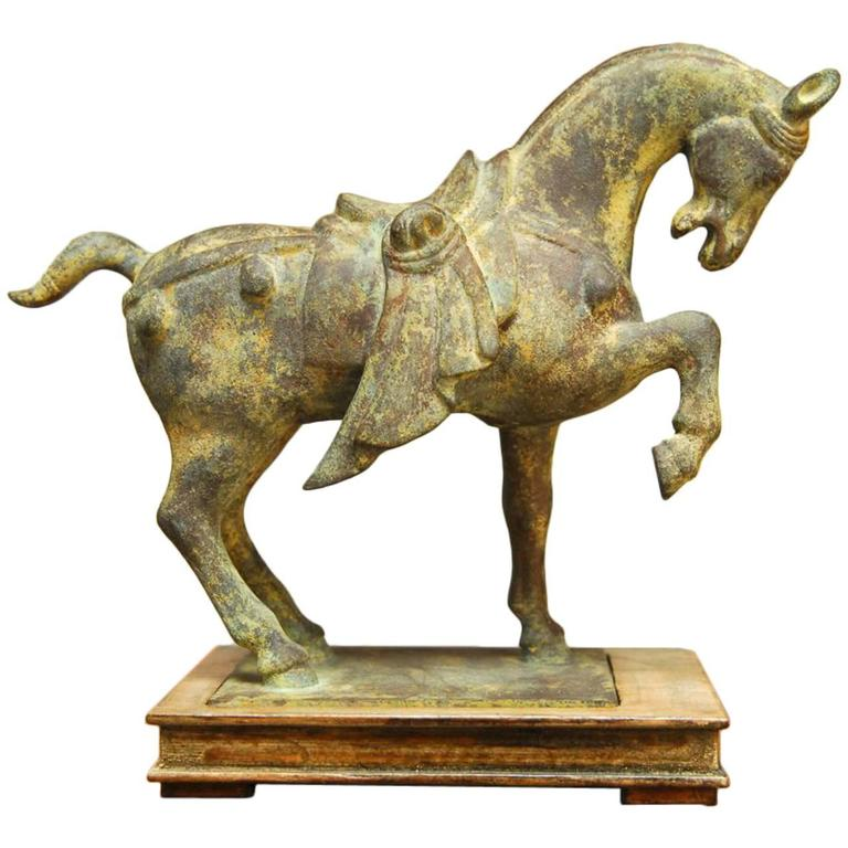 Cast Iron Chinese Tang Style Horse Sculpture On Stand At