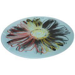 Signed Andy Warhol Glass Painted Flower Plate/ Serving Platter
