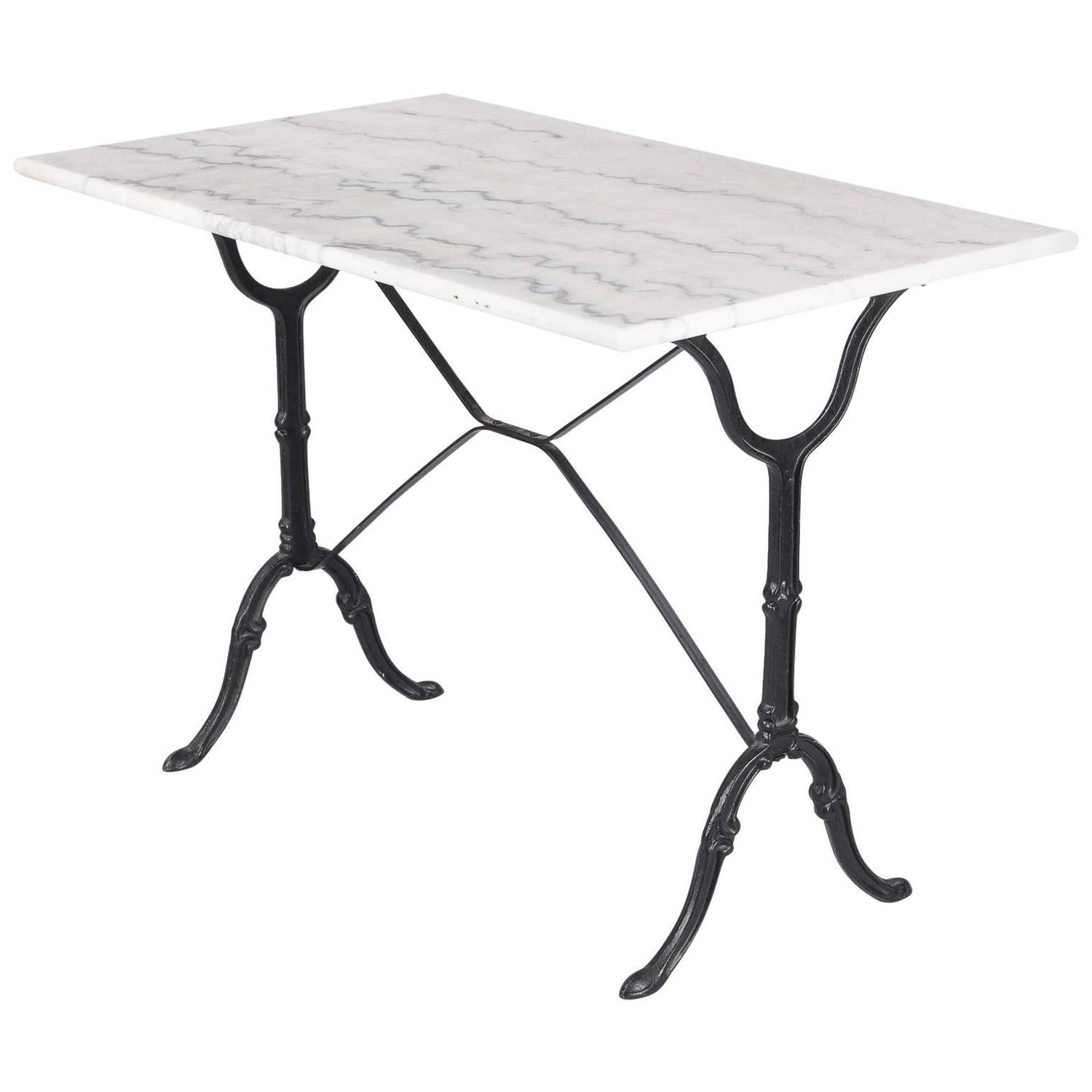Vintage French Marble Top Iron Base Bistro Table 1970s At