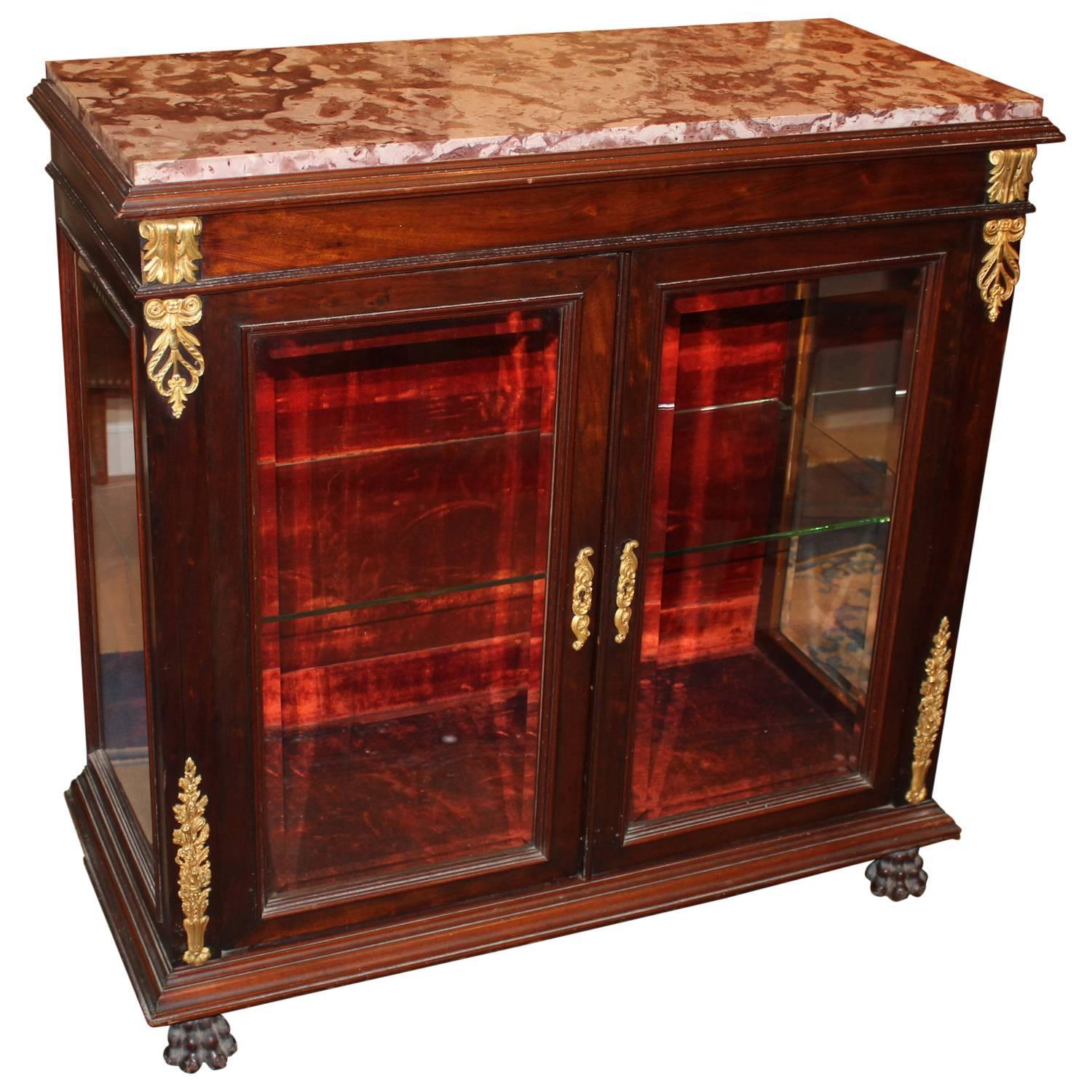 French Empire Style Curio Cabinet or Vitrine with Rouge Marble Top ...