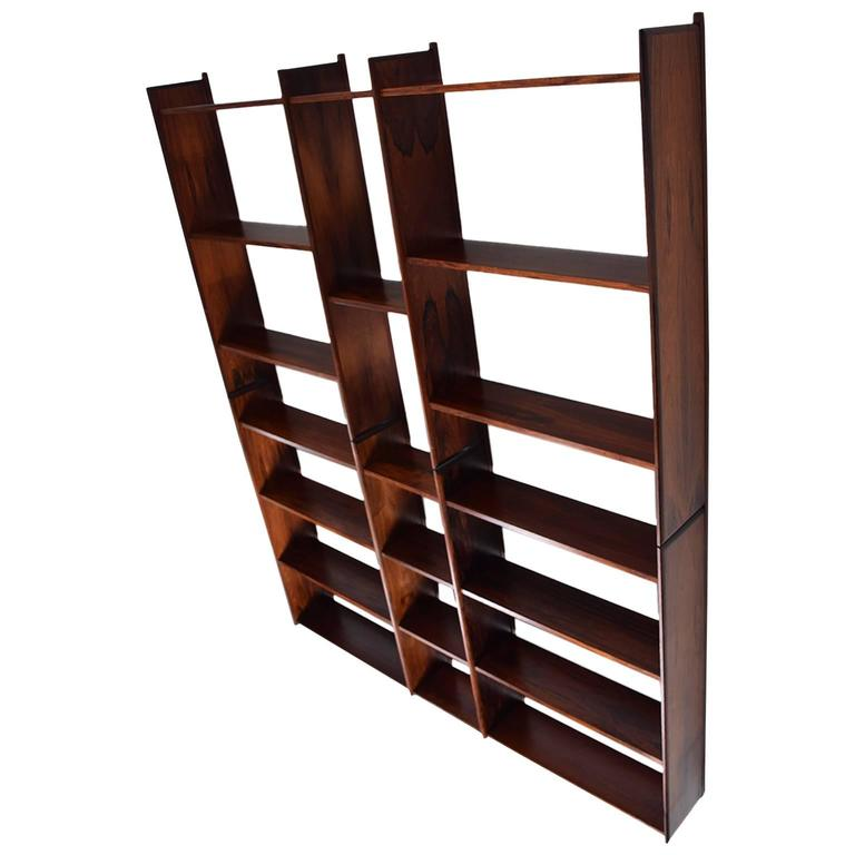Danish Modern Rosewood Bookcase Wall Unit