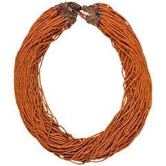 Early/Mid-20th Century Orange Tribald Beaded Naga Necklace, India