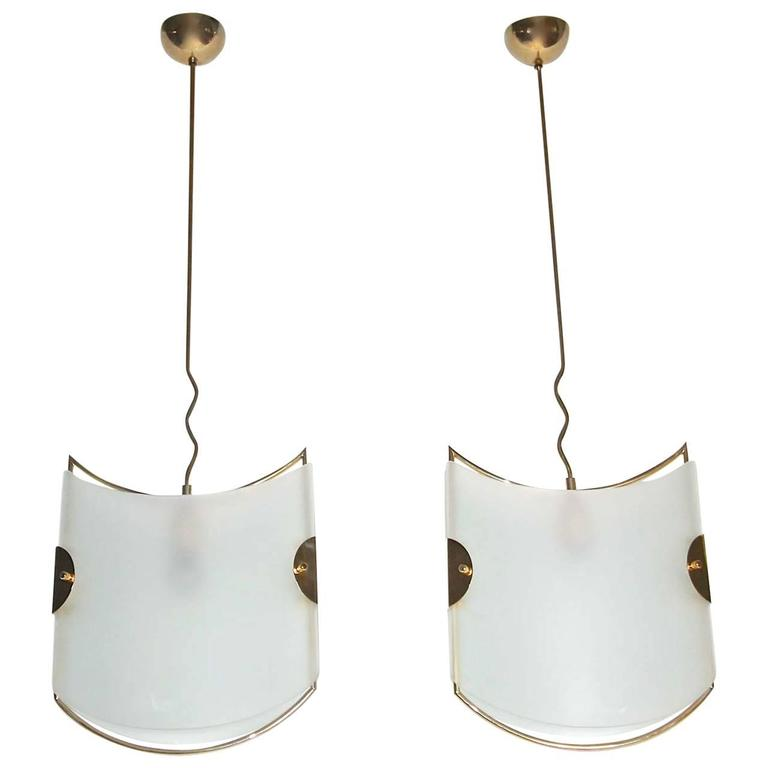 Pair of Italian Glass Brass Pendants Ceiling Lights For Sale