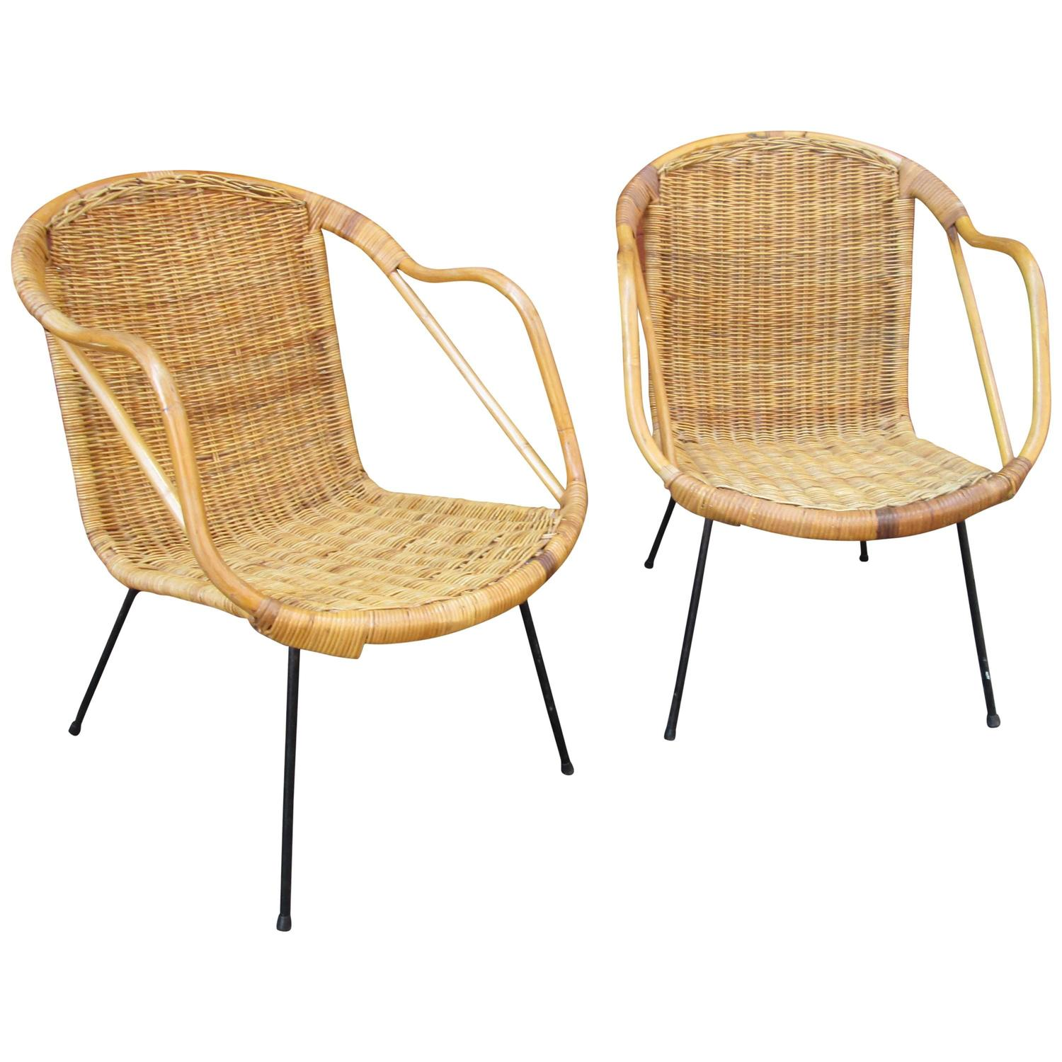 Pair Of Modern Wicker And Wrought Iron Chairs At 1stdibs