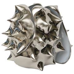 Sculptural Nickel Silver Table Lamp
