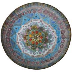 Italian Fantoni Style Salt Glaze Textural Geometric Ceramic Bowl