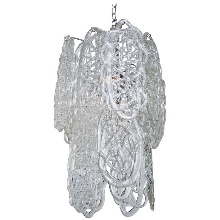 Italian Murano Mazzega Glass Pretzel Pendant Chandelier For Sale