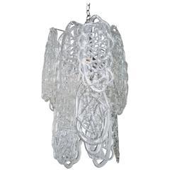 Italian Murano Mazzega Glass Pretzel Pendant Chandelier