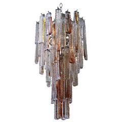 Italian Murano Mazzega Amber Fused Pendant Glass/ Nickel Silver Chandelier /SALE