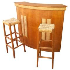 Audoux-Minet Riviera Rarest Rush and Oak Bar with Two Bar Stools