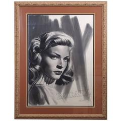 Kenneth Wenning Original Charcoal Drawing of Lauren Bacall, Pencil Signed