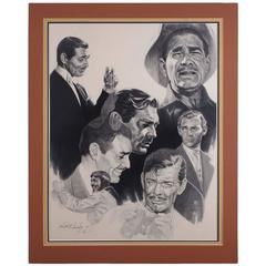 Kenneth Wenning Original Charcoal with Clark Gable Movie Profiles, Pencil Signed